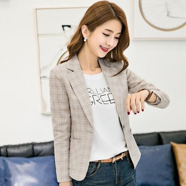 格子西裝外套女韓版新款春秋修身顯瘦休閒氣質小西服短款上衣