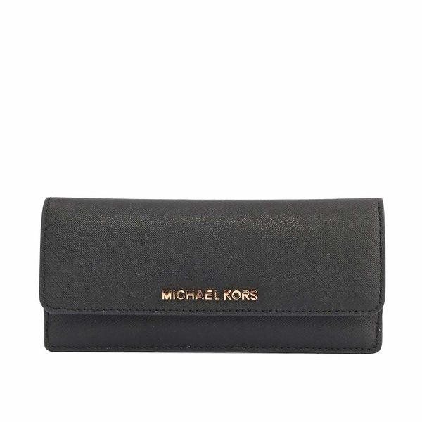 【MICHAEL KORS】金字LOGO防刮皮革薄款壓釦長夾(黑) 35S6GTVE1L BLACK