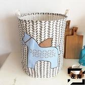 北歐布藝臟衣服簍兒童玩具收納桶棉麻臟衣籃可折疊防水收納筐【左岸男裝】