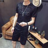夏季t恤男短袖套裝韓版潮流寬鬆迷彩半袖衣服男一套帥氣體恤上衣【PINKQ】