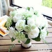 仿真花 迷妝 仿真玫瑰花束 家居客廳臥室辦公桌裝飾擺件插花假花仿真絹花flb173【棉花糖伊人】