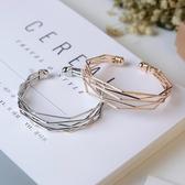 歐美時尚流行飾品金屬簡約幾何多層次氣質百搭開口手鐲手環女配飾