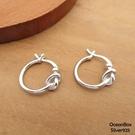 §海洋盒子§1.5cm扭結圈圈設計易扣純銀耳環(925純銀+外鍍專櫃級正白K)