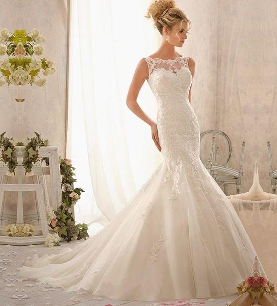 大碼時尚蕾絲雙肩齊地顯瘦女士結婚婚紗禮服-11697001