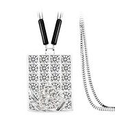 鑲鑽項鍊-璀璨方形生日情人節禮物女毛衣鍊73fv199【時尚巴黎】