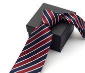 男士正裝領帶商務工作紅藍白條紋色織領帶職業9cm 森雅誠品