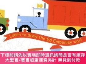 二手書博民逛書店Ed罕見Emberley s Drawing Book Of Trucks And TrainsY256260