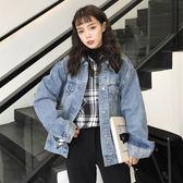 春裝女裝韓版寬鬆原宿風外套復古做舊學生短款長袖牛仔夾克上衣潮 快速出貨 快速出貨