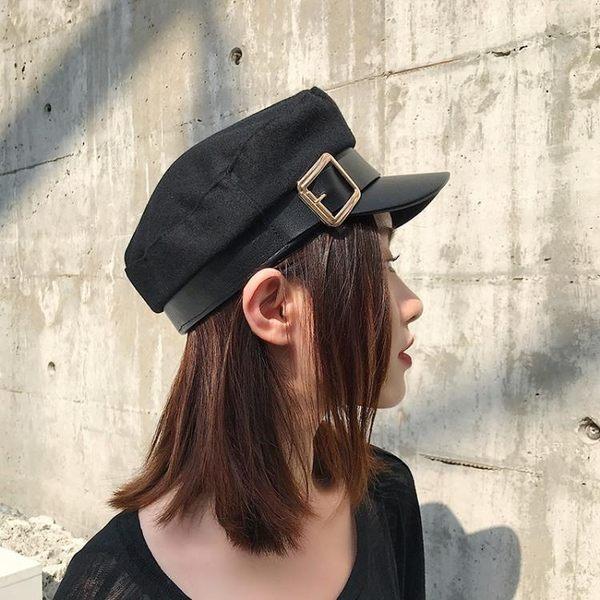 貝雷帽 黑色羊毛呢海軍帽子女韓版潮牌時尚歐美街頭英倫百搭秋冬季貝雷帽 麻吉部落