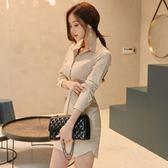新款秋裝連身裙長袖襯衫裙修身包臀氣質名媛打底裙短裙981GT-5F-517朵維思