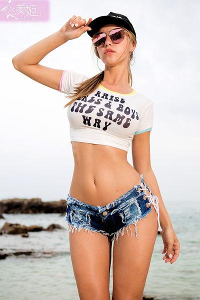 衣美姬♥歐美側邊 性感綁帶 簍空透視 火辣牛仔短褲 夜店酒吧 制服短褲 熱賣款