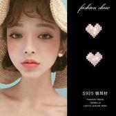 925純銀針  韓國優雅氣質  甜美愛心耳環-維多利亞190586
