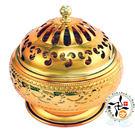 金色花雕24H加蓋香環爐  【十方佛教文物】