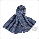 GUCCI經典GG緹花LOGO條紋設計羊毛圍巾(灰藍)