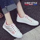 小白鞋-繽紛條紋綁帶休閒鞋【XLW0818-1】