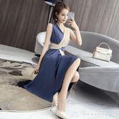 夏裝新款2019韓版俏皮時尚百搭無袖拼色連身裙氣質收腰時髦潮『韓女王』