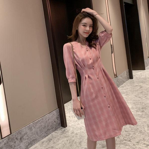 VK旗艦店 韓系甜美蜜桃復古格紋短袖洋裝
