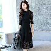 新款早春時尚套裝裙子中長款蕾絲連衣裙洋氣秋季裙兩件套女裝 瑪麗蘇
