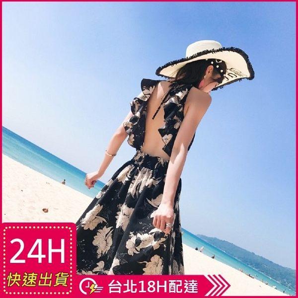 梨卡★現貨 - 性感荷葉邊大露背印花花朵連身裙連身長裙洋裝沙灘裙C6267