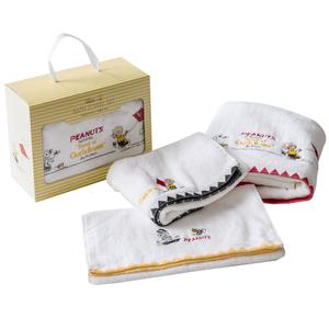 HOLA 史努比 Snoopy 系列 刺繡毛浴巾三入組 2毛巾+1浴巾