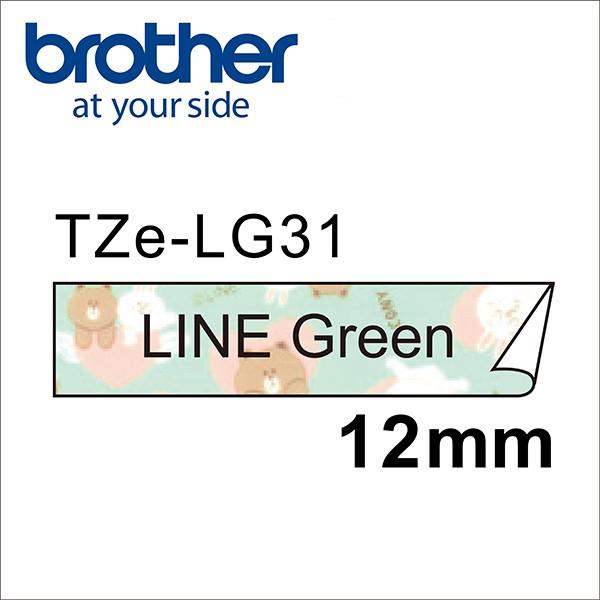 Brother TZe-LG31 LINE FRIENDS 熊大兔兔 12mm 護貝標籤帶 綠底黑字