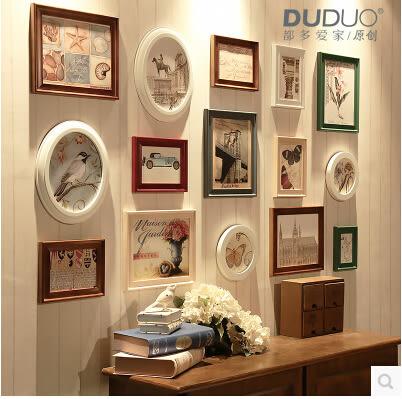 實木照片牆 創意組合相框牆 美式相框 15框