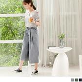 OB嚴選《BA3281-》鬆緊抽腰綁繩純色高含棉七分寬褲.3色
