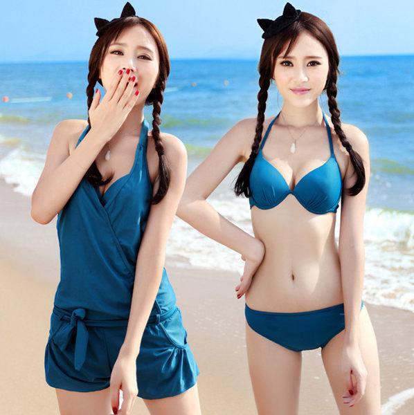 情人節 比基尼 泳裝 性感露背 情人禮 海灘泳衣 溫泉 有鋼圈 三件套 吊帶 掛頸 罩衫 情侶