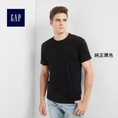 Gap男裝 基本款純色圓領短袖T恤 646574-純正黑色