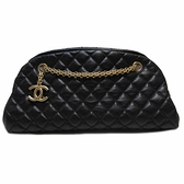 CHANEL 香奈兒 黑色小牛皮菱格紋金鍊肩背包 Just Mademoiselle Bowling Bag BRAND OFF