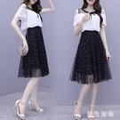 2020夏季新款韓版短袖雪紡拼接波點網紗連身裙氣質收腰顯瘦洋裝 LF4892『黑色妹妹』