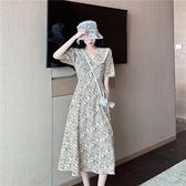 中大尺碼蕾絲洋裝 大碼女裝胖妹妹夏季蕾絲花邊法式復古洋氣顯瘦減齡短袖碎花連身裙