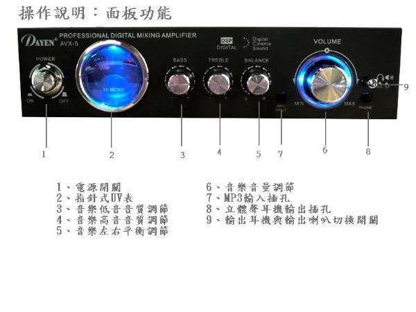 【中彰投電器】DAYEN家庭劇院影音環繞小型擴大機, AVX-5【全館刷卡分期+免運費】UV顯示功能~