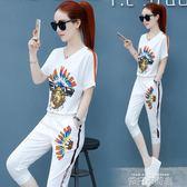 運動套裝女夏季2018新款韓版夏天服時尚短袖女七分褲兩件套潮 依凡卡時尚