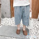 男童七分褲 牛仔薄款短褲外穿破洞寬松短褲
