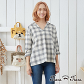 【Tiara Tiara】清新格紋開襟襯衫(白/灰)