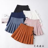 韓版小清新綁帶高腰生半身短裙