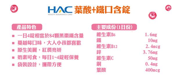 【永信HAC】葉酸+鐵口含錠-蔓越莓口味(120錠/包)