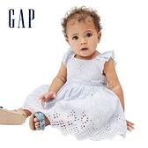 Gap嬰兒 甜美鏤空刺繡方領洋裝 663318-淺藍細條紋