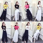 夏季套裝女時尚網紅2018新款韓版印花短袖T恤上衣 高腰雪紡闊腿褲