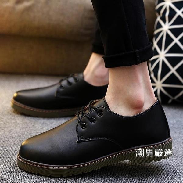皮鞋 秋季新品男士休閒大頭鞋學生流黑色小皮鞋男正韓青少年男鞋 一件82折