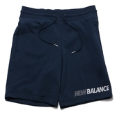 NEW BALANCE 運動短褲 棉褲 土耳其藍 白色LOGO 男 (布魯克林) AMS03501NGO