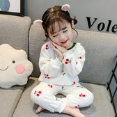 兒童法蘭絨睡衣秋冬嬰兒三歲女寶寶女童加厚公主珊瑚絨家居服套裝