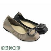 U73-22555 女款全真皮娃娃鞋  梯形金屬裝飾全真皮平底娃娃鞋【GREEN PHOENIX】