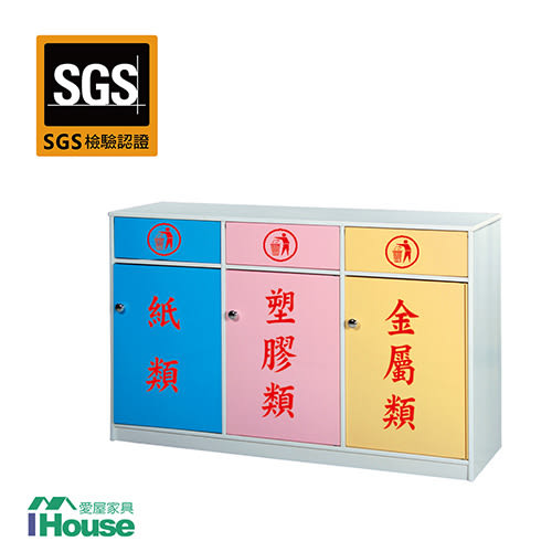 IHouse-零甲醛 環保塑鋼3門資源回收櫃(寬127深40高88)