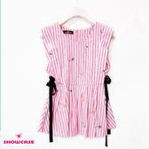 【SHOWCASE】甜美條紋繡花合腰剪裁綁帶無袖上衣(粉色)