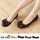 [Here Shoes]6色 熱賣嚴選 素面蝴蝶結金屬飾品 小坡跟圓頭包鞋 娃娃鞋─ANDW1782