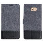 三星 C9 Pro 十字紋拼色 牛皮布 掀蓋磁扣手機套 手機殼 皮夾卡片式手機套 側翻可立式 外磁扣皮套