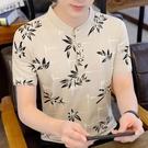 純棉男士短袖t恤夏季新款韓版立領polo衫潮流休閒青年印花上衣ins 露露日記