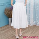 【RED HOUSE 蕾赫斯】素面單排釦長裙(白色)